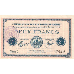 Montluçon-Gannat - Pirot 84-26b - Série C - 2 francs - 1916 - Etat : SUP+ à SPL