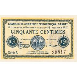 Montluçon-Gannat - Pirot 84-28a - 50 centimes - Série A - 1917 - Etat : NEUF