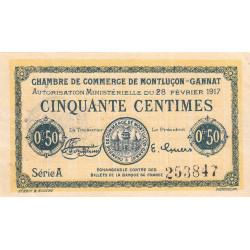 Montluçon-Gannat - Pirot 84-28b - Série A - 50 centimes - 1917 - Etat : SUP