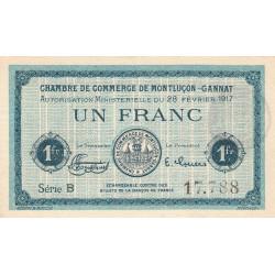 Montluçon-Gannat - Pirot 84-31 - 1 franc - Série B - 1917 - Etat : SUP+