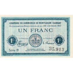 Montluçon-Gannat - Pirot 84-31 - Série B - 1 franc - 1917 - Etat : NEUF