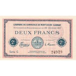 Montluçon-Gannat - Pirot 84-33 - 2 francs - Série C - 1917 - Etat : NEUF