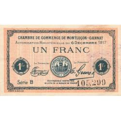 Montluçon-Gannat - Pirot 84-37a - 1 franc - Série B - 1917 - Etat : TTB