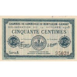 Montluçon-Gannat - Pirot 84-40 - 50 centimes - Série A - 1918 - Etat : SUP+