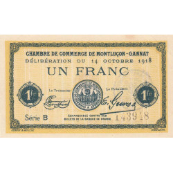 Montluçon-Gannat - Pirot 84-42 - Série B - 1 franc - 1918 - Etat : SUP+