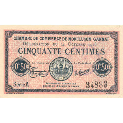 Montluçon-Gannat - Pirot 84-46 - 50 centimes - Série A - 1918 - Etat : SUP+