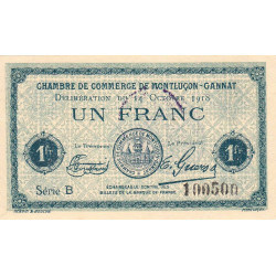 Montluçon-Gannat - Pirot 84-48b - 1 franc - Série B - 1918 - Etat : SUP