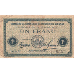 Montluçon / Gannat - Pirot 84-48b - 1 franc - Etat : B+