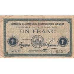 Montluçon-Gannat - Pirot 84-48b - Série B - 1 franc - 1918 - Etat : B+