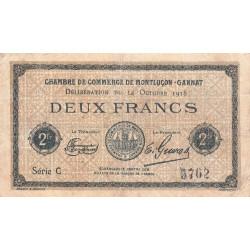 Montluçon-Gannat - Pirot 84-49 - 2 francs - Série C - 1918 - Etat : TB-