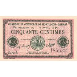 Montluçon-Gannat - Pirot 84-50 - 50 centimes - Série A - 1920 - Etat : SUP+