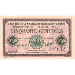 Montluçon-Gannat - Pirot 84-50 - Série A - 50 centimes - 1920 - Etat : SUP+