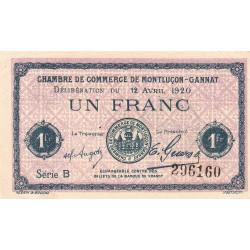 Montluçon-Gannat - Pirot 84-52 - 1 franc - Série B - 1920 - Etat : SUP+