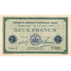 Montluçon / Gannat - Pirot 84-54 - 2 francs - Etat : SUP+