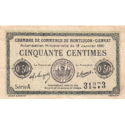 Montluçon-Gannat - Pirot 84-56 - Série A - 50 centimes - Etat : TB-