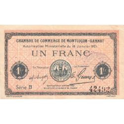 Montluçon-Gannat - Pirot 84-58a - 1 franc - Série B - 1921 - Etat : TB+