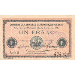 Montluçon-Gannat - Pirot 84-58a - Série B - 1 franc - 1921 - Etat : TB+