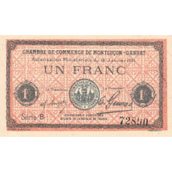 Montluçon-Gannat - Pirot 84-58a - Série B - 1 franc - 1921 - Etat : SPL