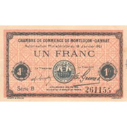 Montluçon-Gannat - Pirot 84-58b - 1 franc - Série B - 1921 - Etat : TTB+ à SUP