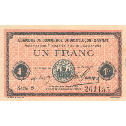 Montluçon-Gannat - Pirot 84-58b - Série B - 1 franc - 1921 - Etat : TTB+ à SUP