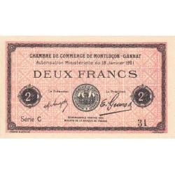 Montluçon-Gannat - Pirot 84-59 - 2 francs - Série C - 1921 - Petit numéro - Etat : SPL+