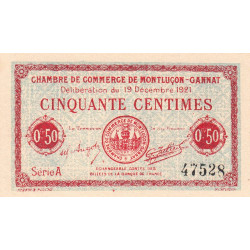 Montluçon-Gannat - Pirot 84-61 - Série A - 50 centimes - 1921 - Etat : NEUF