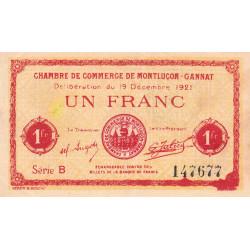 Montluçon-Gannat - Pirot 84-63 - 1 franc - Série B - 1921 - Etat : TTB+