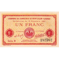 Montluçon-Gannat - Pirot 84-63 - 1 franc - Série B - 1921 - Etat : SUP+ à SPL