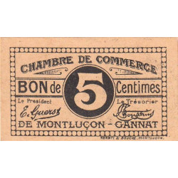 Montluçon-Gannat - Pirot 84-72a - 5 centimes - Etat : NEUF