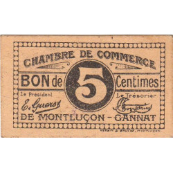 Montluçon-Gannat - Pirot 84-72b - 5 centimes - Etat : SUP