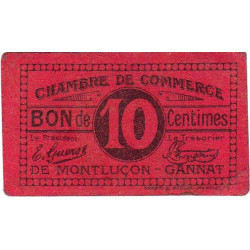 Montluçon-Gannat - Pirot 84-73a - 10 centimes - Etat : TTB