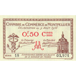 Montpellier - Pirot 85-1 - 50 centimes - 1915 - Etat : NEUF