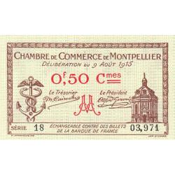 Montpellier - Pirot 85-1 - 50 centimes - Série 18 - 09/08/1915 - Etat : NEUF