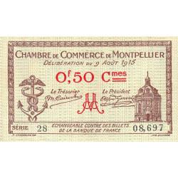 Montpellier - Pirot 85-1 - 50 centimes - Série 28 - 09/08/1915 - Etat : SUP
