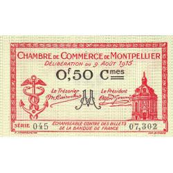 Montpellier - Pirot 85-6 - 50 centimes - Série 045 - 09/08/1915 - Etat : NEUF