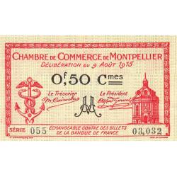 Montpellier - Pirot 85-6 - 50 centimes - Série 055 - 09/08/1915 - Etat : SUP+