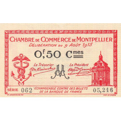 Montpellier - Pirot 85-6 - 50 centimes - Série 062 - 09/08/1915 - Etat : SUP