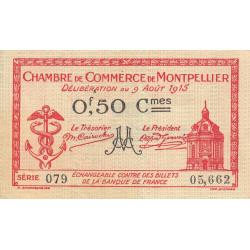 Montpellier - Pirot 85-6 - 50 centimes - Série 079 - 09/08/1915 - Etat : TTB+