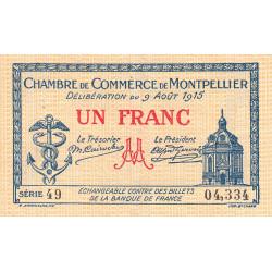 Montpellier - Pirot 85-10a - 1 franc - 1915 - Etat : TTB-