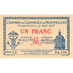 Montpellier - Pirot 85-10a - 1 franc - Série 49 - 09/08/1915 - Etat : TTB-