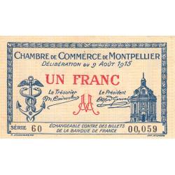 Montpellier - Pirot 85-10a - 1 franc - Série 60 - 09/08/1915 - Etat : SUP