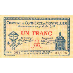 Montpellier - Pirot 85-10b - 1 franc - Série 063 - 09/08/1915 - Etat : NEUF