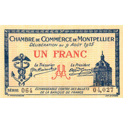 Montpellier - Pirot 85-10b - 1 franc - Série 064 - 09/08/1915 - Etat : SPL