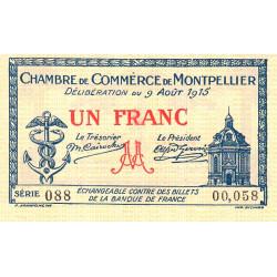 Montpellier - Pirot 85-10b - 1 franc - 1915 - Etat : SUP+