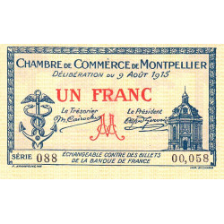 Montpellier - Pirot 85-10b - 1 franc - Série 088 - 09/08/1915 - Etat : SUP+