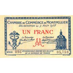 Montpellier - Pirot 85-10b - 1 franc - Série 096 - 09/08/1915 - Etat : TTB+