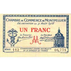 Montpellier - Pirot 85-10b - 1 franc - Série 112 - 09/08/1915 - Etat : TTB+