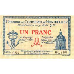 Montpellier - Pirot 85-10 variété 1 - 1 franc - Série 084 - 09/08/1915 - Etat : TTB
