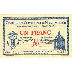 Montpellier - Pirot 85-10 variété 2 - 1 franc - Série 113 - 09/08/1915 - Etat : SPL