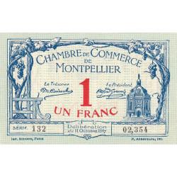 Montpellier - Pirot 85-18 variété - 1 franc - Série 132 - 11/10/1917 - Etat : SUP+